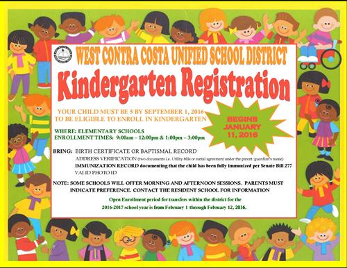 Kindergarten Registration 2017-2018 Begins January 11, 2017