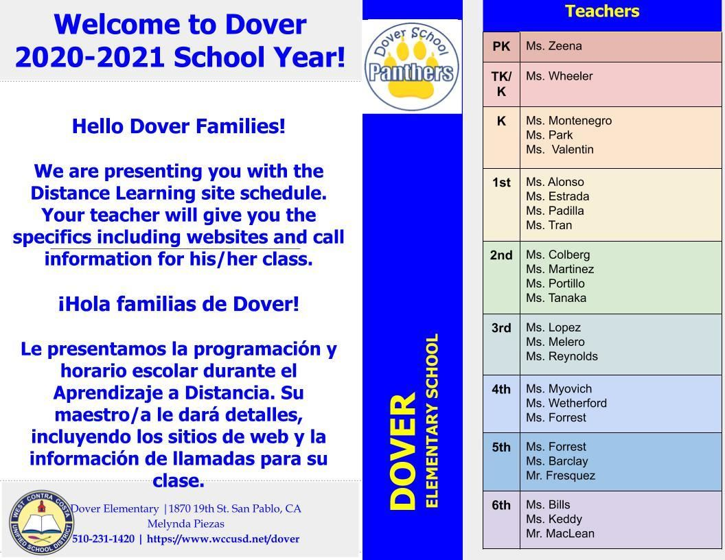 2020-2021 Teaching Staff & Distance Learning Schedule