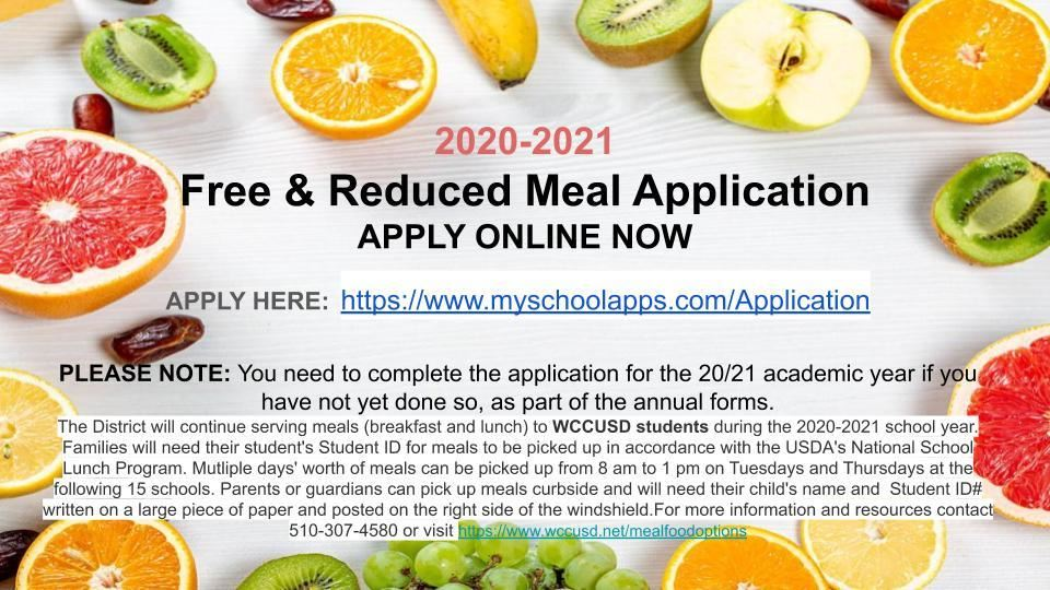 2020/2021 Free & Reduced Meal Application APPLY ONLINE NOW