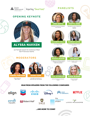 SHE Leads Flyer listing keynote speakers and sponsors for students