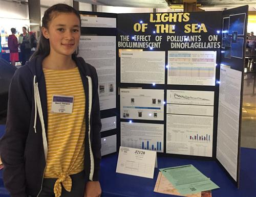 El Cerrito Freshman Nora Thompson with her Lights of the Sea Science Project