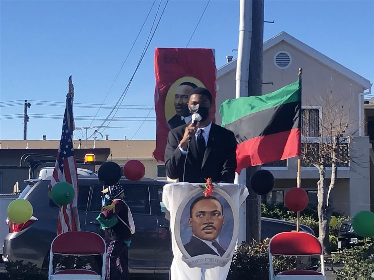 WCCUSD student Caden speaking at the 32nd El Cerrito MLK Celebration