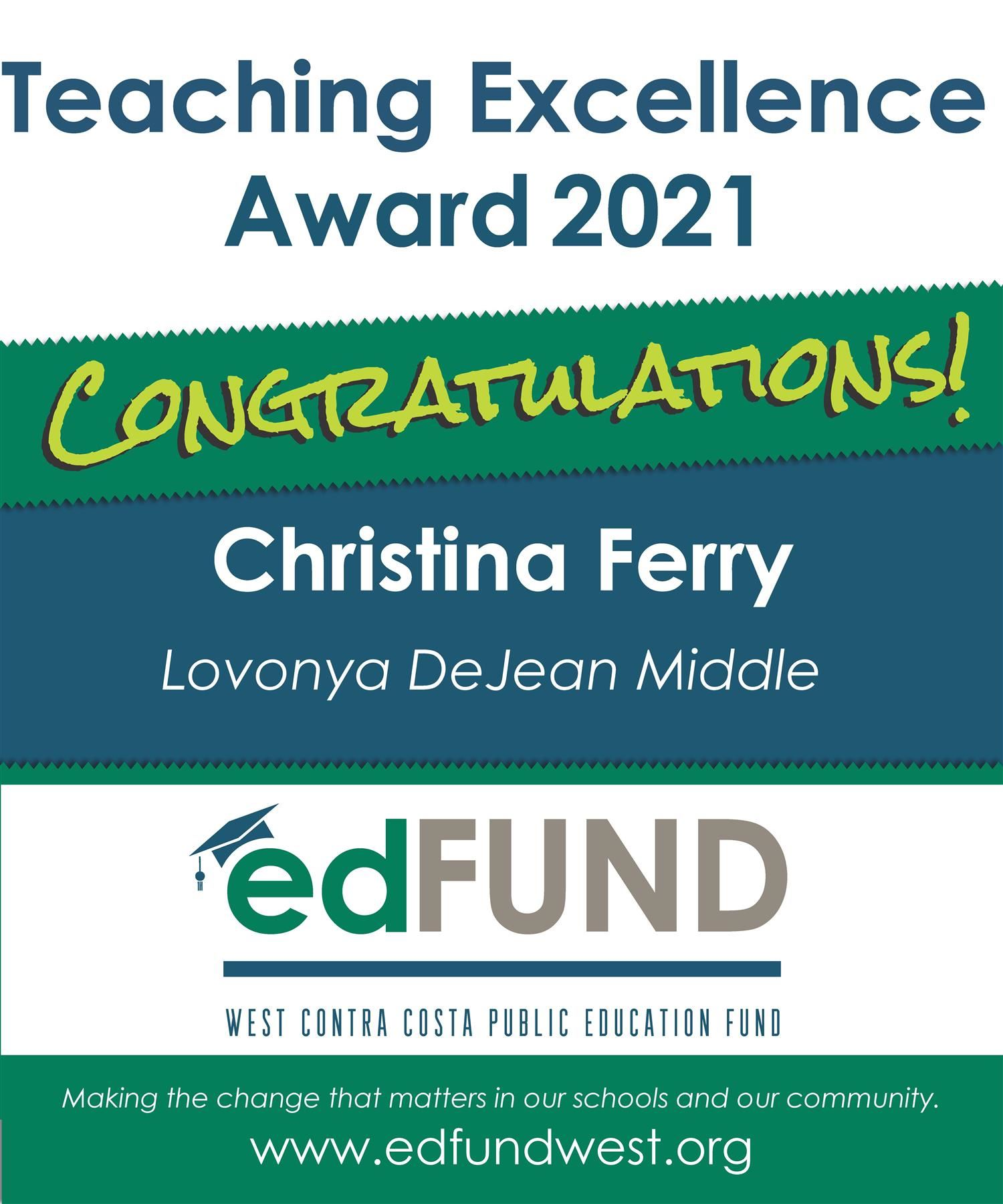 DeJean Middle School Christina Ferry a Teaching Excellence Award Winner