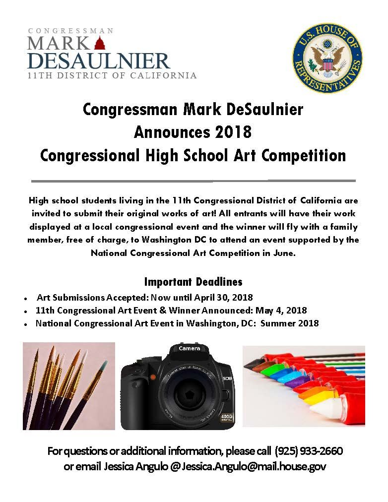 2018 Congressional Art Competition Announced by  Congressman DeSaulnier