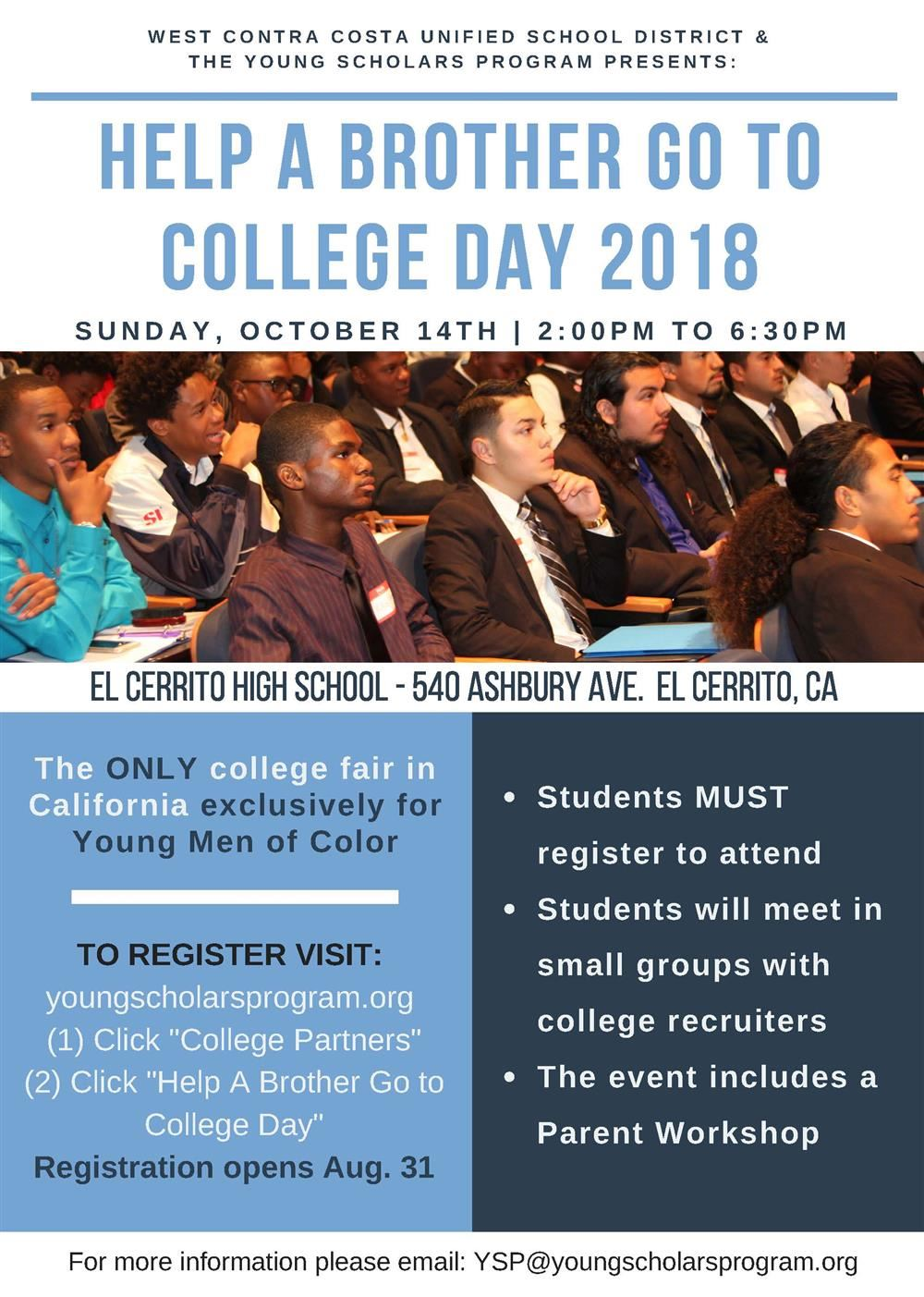 Upcoming College Fair Aims to Help Young Men of Color in WCCUSD
