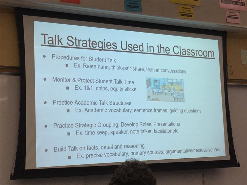 A power point slide on talk strategies used in the classroom.