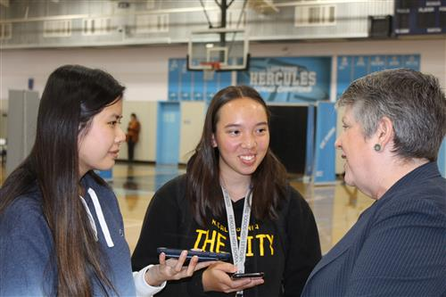 Hercules High School Yearbook students interview UC President Janet Napolitano.
