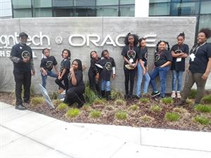 Rev. Shumake with Nystrom Mafanikio students at Oracle.