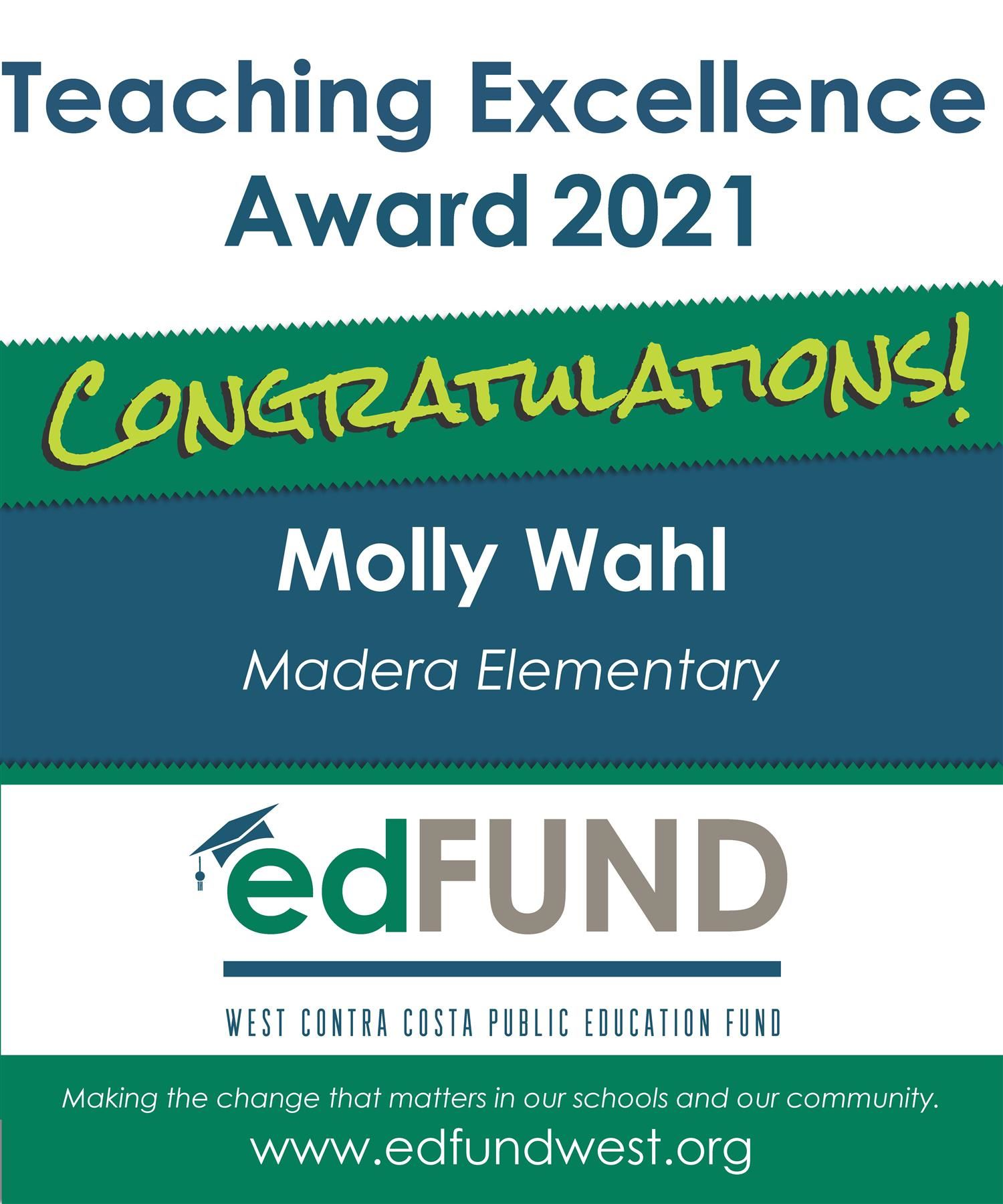 Madera Elementary School Molly Wahl Teaching Excellence Banner
