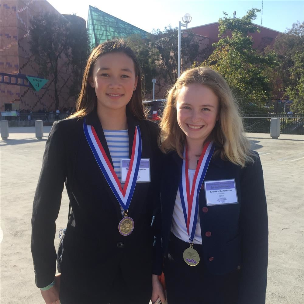Korematsu Middle School's Nora Thompson and Eleanor Addison at the State Science Fair.