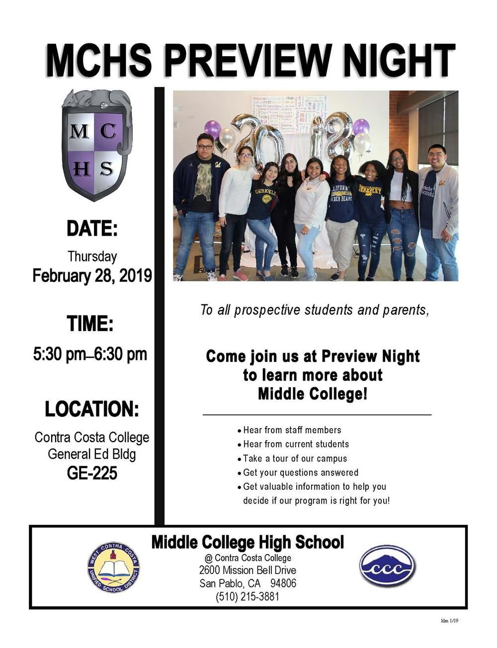 Middle College Preview Night Flyer