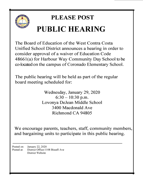 Public Hearing Announcement Flyer