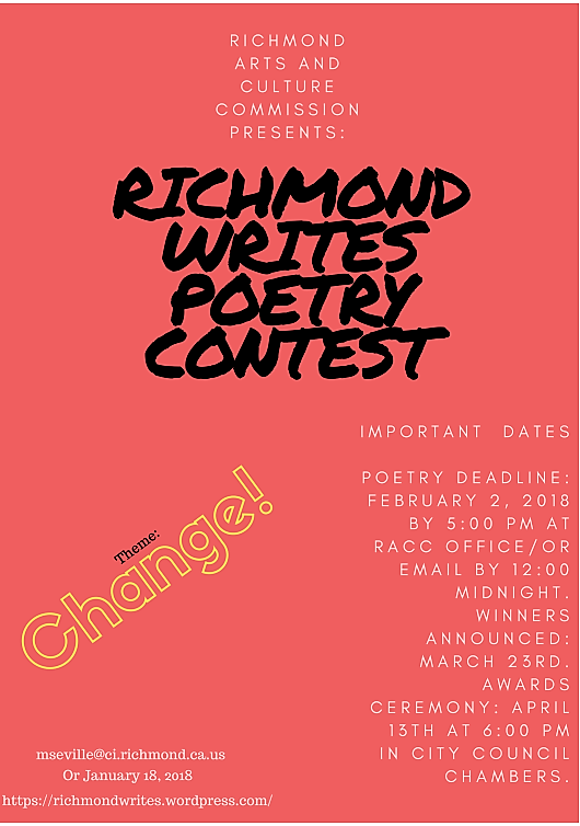 Richmond Writes! Poetry Contest flyer