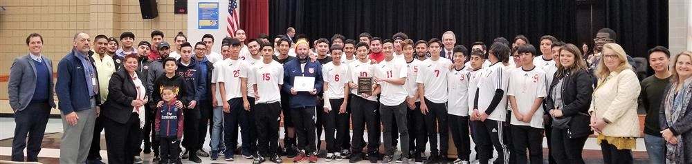 Richmond high school soccer team helping to recognize coach Rene Siles 300th win at January 3 board meeting.