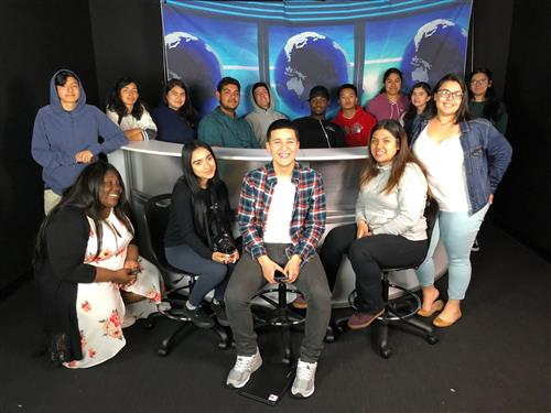 Richmond High School media academy students participating in KQED's Youth Takeover