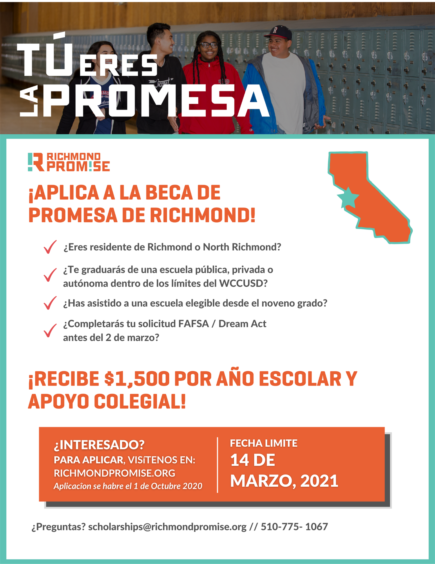 Spanish Richmond Promise Scholarship Flyer 20 21