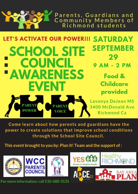 School Site Council Awareness Event September 29