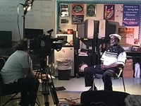 Reverend Shumake sitting down for an interview
