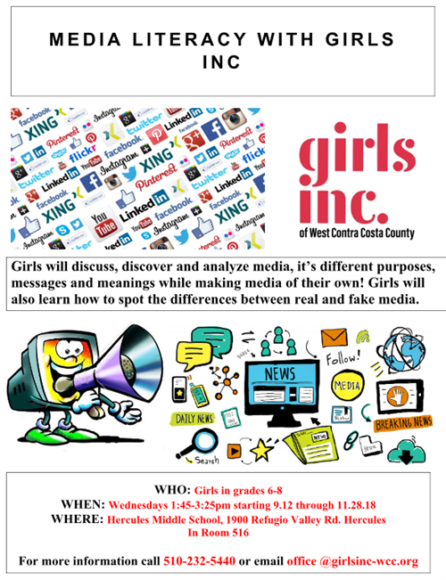 Join our Media Literacy after school program! First come first serve, maximum of 25 girls. Program runs for 10 weeks every Wednesday, starting September 19th (NEW START DATE) from 1:45 to 3:15pm in room M516. Ends November 28th. Program will repeat during