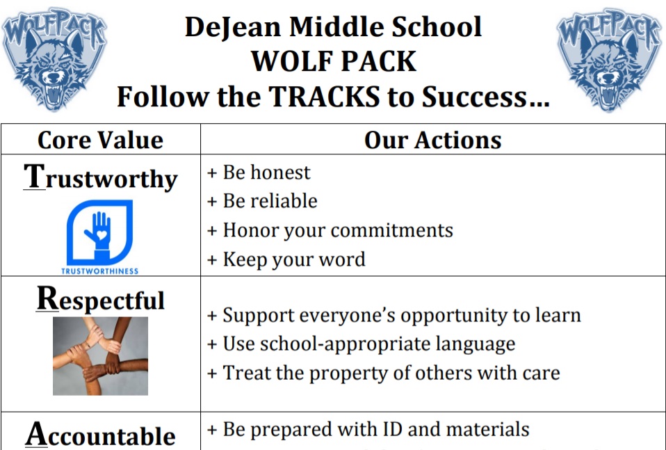 View the Core Values for DeJean Middle Students