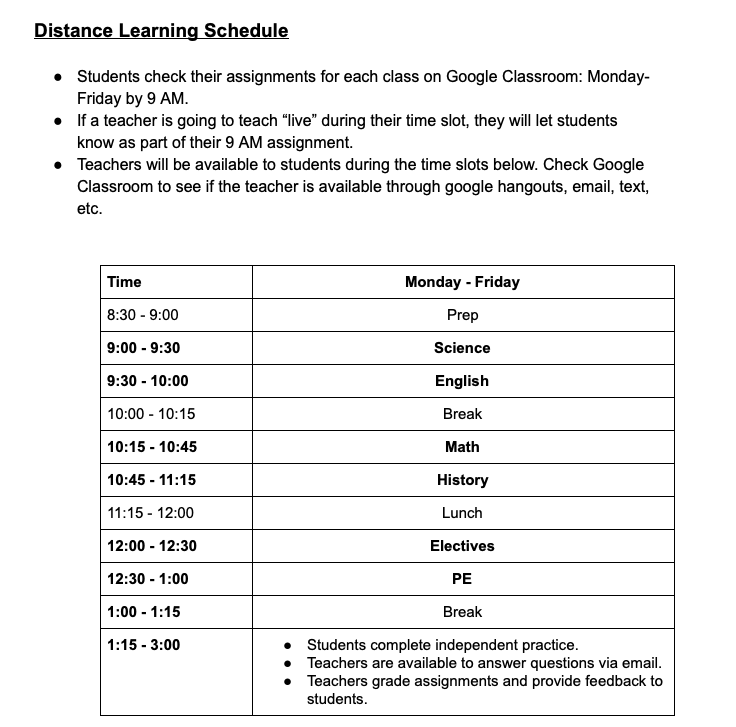 DeJean Distance Learning Schedule