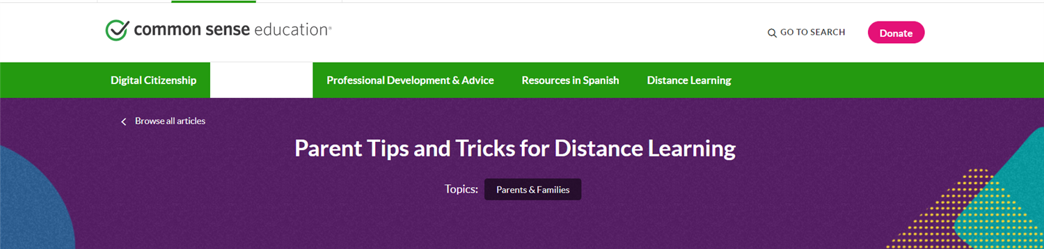 Parent Tips and Tricks for Distance Learning (Common Sense Media)