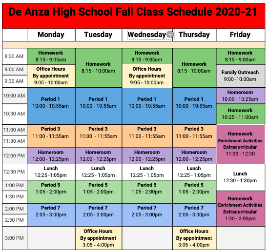 Image of De Anza High School Fall Schedule 2020