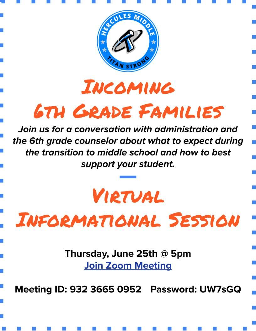 Incoming 6th Grade Informational Session