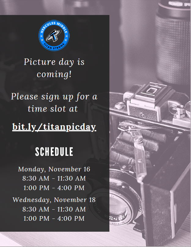 Picture Days! 11/16 & 11/18 - Sign up for a slot!