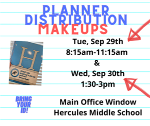 Did you miss our planner pick-up dates? Here are our make-up dates and times!