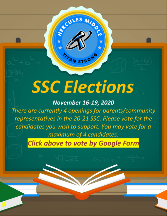 SSC elections are happening! Parents, please vote for your parent representatives. Voting closes on Friday, 11/20.