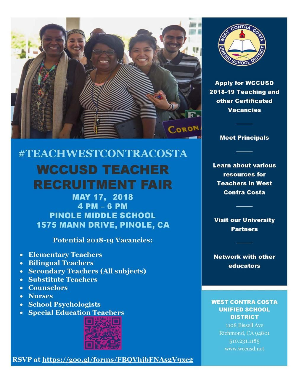 #TeachWestContraCosta Teacher Recruitment flyer