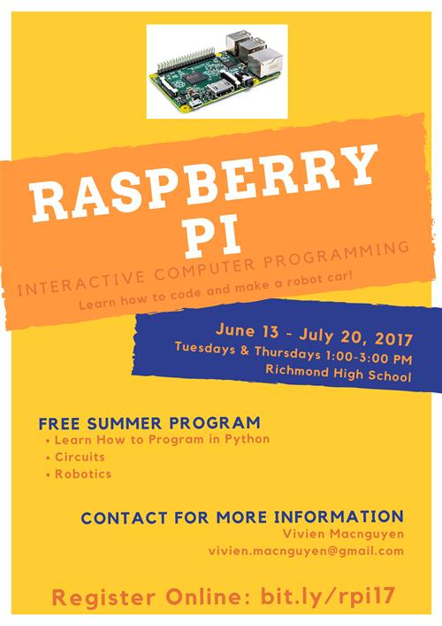 Summer coding opportunity flyer for students