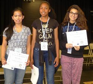 Winners of the middle school spelling bee.